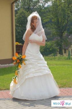 Piękna suknia slubna ecru