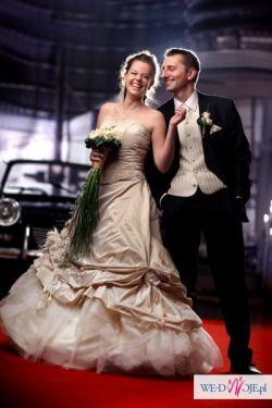 Piękna suknia ślubna ecru/cappucino/ kamienie Swarovskiego