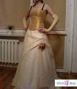 Piękna suknia slubna ecru rozm. 38/40
