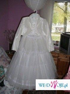 Piękna suknia ślubna ecru tafta inteligentna rozm. 36/38