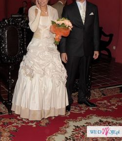 Piękna suknia ślubna ecru z capucino  rozmiar 36/38