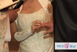 Piękna suknia ślubna ecru z koronką r 40 42