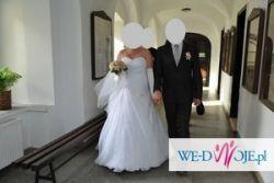 Piękna suknia ślubna + etola + rękawiczki