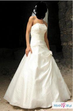 Piękna suknia ślubna (jasny ecru, rozm. 36)