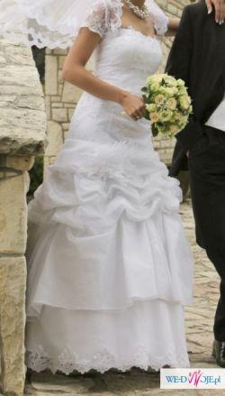 Piękna suknia ślubna KARINA + koronkowe bolerko
