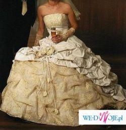 Piękna suknia ślubna- kolor ecru, roz. 36