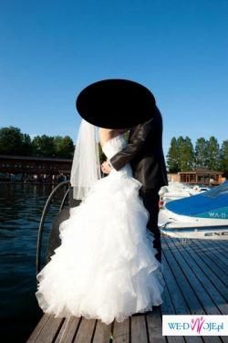 Piękna suknia ślubna Maggio Ramatti Cancan ecru falbany rozm. 36