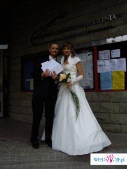 ! ! Piękna Suknia Ślubna - satyna-ecru,koronka złota, OKAZJA