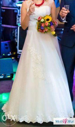 Piękna suknia ślubna śmietankowa rozm. 38