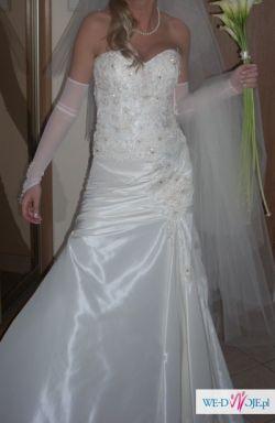 Piękna suknia ślubna, stan idealny,w kolorze ecru, rozm. 36/38