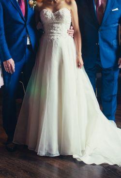 Piękna suknia ślubna Sweetheart 6098, długi tren, roz. 36-38
