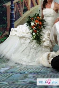 Piękna suknia ślubna w kolorze ecru rozm. 36-38
