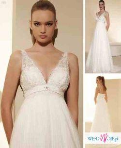 Piękna suknia ślubna White One 458 Plisados