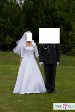 Piękna suknia slubna z blokerkiem i welonem za 300 zl!