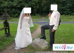 Piękna suknia ślubna z cudnym welonem