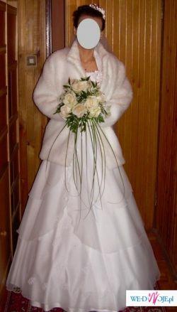 Piękna śuknia ślubna z dodatkami za 600 zł