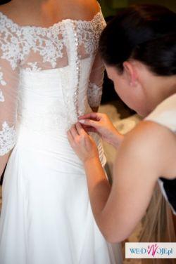 73d3d88d0d Piękna suknia ślubna z muślinu+koronka