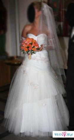 Piękna Suknia w stanie IDEALNYM + DODATKI!!!cena 1400zl
