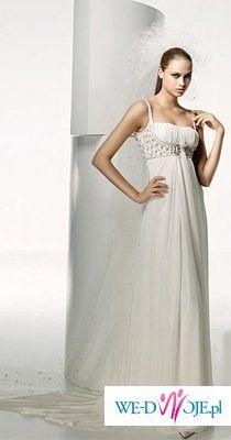 Piekna suknia w stylu greckim Madonna, kolekcja Manuel Mota, model Saman