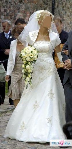 Piękna sunkia ślubna ze złotymi wykończeniami  rozm. 38-40 z regulacją