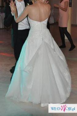 Piękna tiulowo - kronkowa suknia ślubna