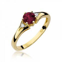Pierścionek złoty z rubinem i diamentami BD-W76