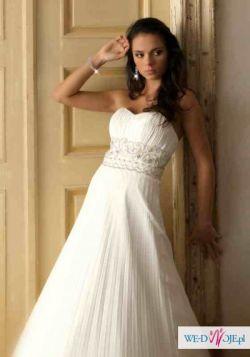 plisowana suknia ślubna z muślinu/ styl  empire