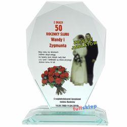 Prezent na Jubileusz ze zdjęciem jubilatów Szklana Statuetka