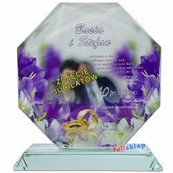 Prezent na Rocznicę Ślubu ze zdjęciem jubilata szklana statuetka