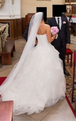 PRONOVIAS LEINA 36 stan ideany suknia ślubna pióra