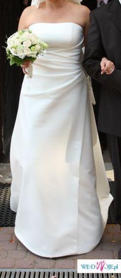 Prosta suknia w kolorze ecru, rozmiar 42