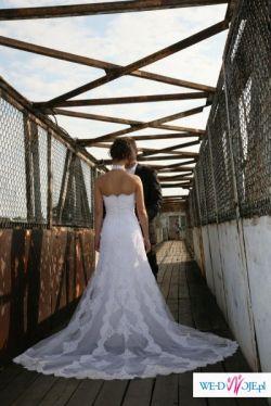 Przepiękna biała koronkowa suknia ślubna Pronovias Manacor