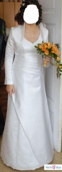 Przepiękna biała suknia ślubna roz40-42 +GRATIS