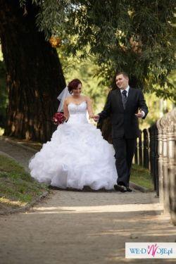 Przepiękna biała suknia ślubna typ księżniczka