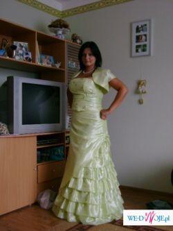 przepiekna jasno zielona suknia 42-44
