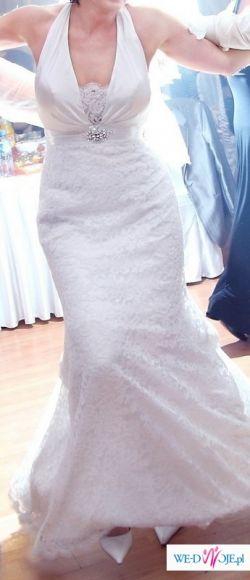 Przepiękna koronkowa śnieżnobiała suknia z trenem!