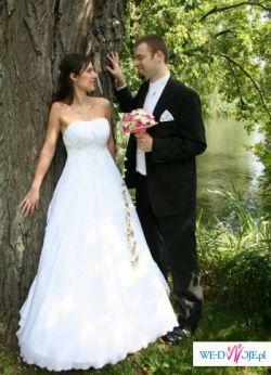 Przepiękna, muślinowa suknia ślubna Biancaneve z kryszt. SWAROVSKIEGO rozm.36/38