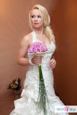 Przepiękna suknia-ecru+welon+bolerko-polecam:)