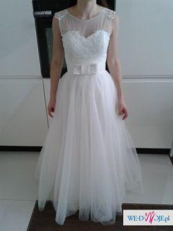 przepiekna suknia ślubna 36 tiulowa spódnica koronkowy gorset ecru