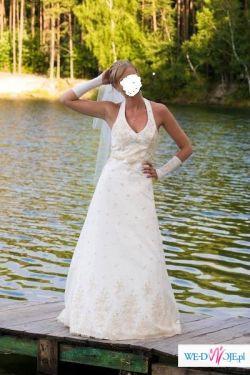 Przepiękna suknia slubna ekri z koronką wyszywaną złotą nitką