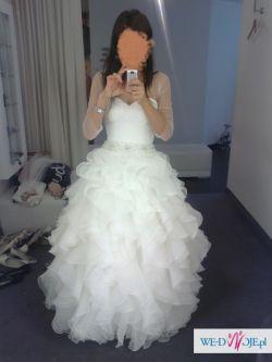 Przepiękna suknia ślubna, falbany z salonu MADONNA!!