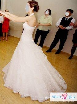 Przepiękna suknia ślubna, kolor: ecru, rozm.:34-36