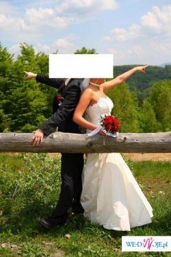 Przepiękna suknia ślubna w kolorze ecru 40-42