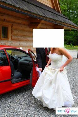 Przepiękna suknia ślubna w kolorze ecru