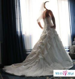 Przepiękna suknia z trenem, rozm.38+gratisy