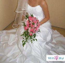 Prześliczna bielutka suknia ślubna z koronkowym gorsetem