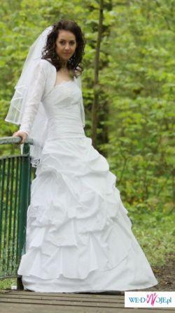 Przesliczna, kobieca suknia+ bolerko+ welon +parasolka