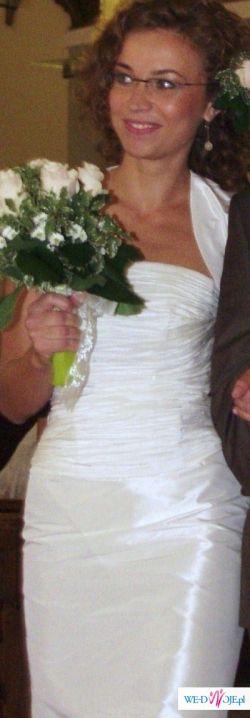 prześliczna krótka sukienka ślubna