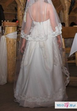 Prześliczna suknia ślubna w rozmiarze 38-40, ecru + welon