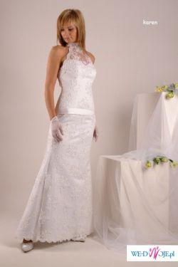 Przesliczna suknia z koronki - rybka , rozmiar 36/38 + GRATIS